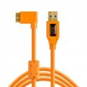 "TETHERPRO USB 3.0 MALE TO MICRO-B RIGHT ANGLE 15"" ORANGE CU5454RT"