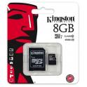 TARJETA MEMORIA KINGSTON MICRO SD  8GB + ADAPTADOR CLASE 10