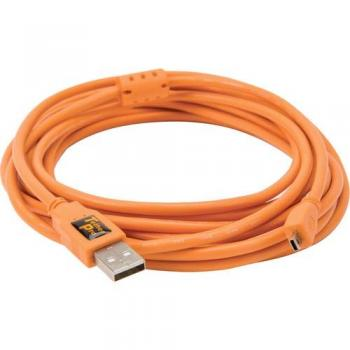"TETHERPO USB 2.0 A TO MINI-B 8 PIN 15"" ORANGE  CU5429"
