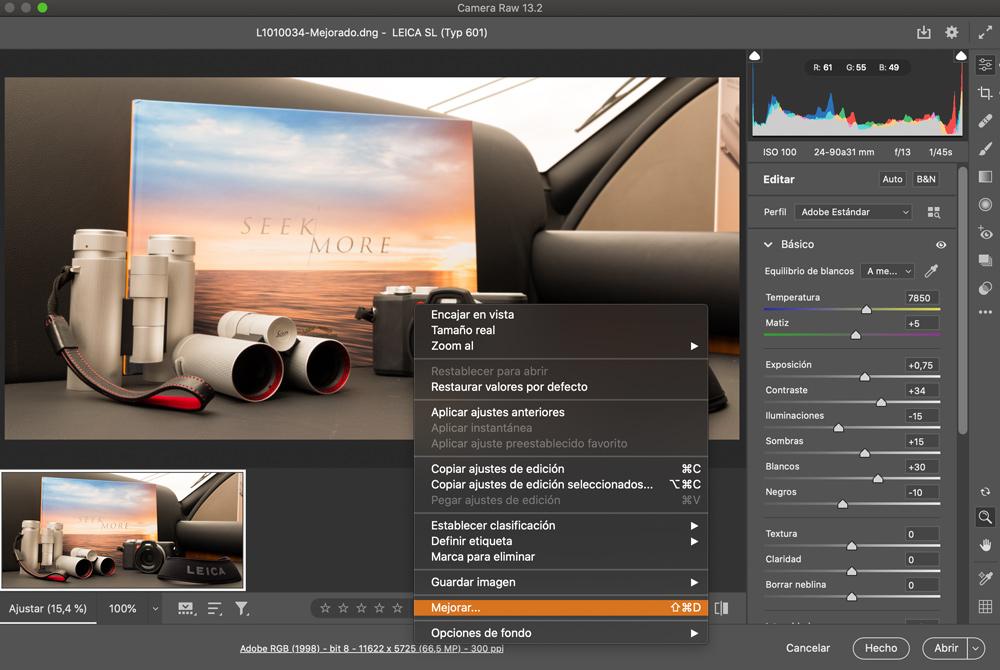 Super Resolución en Adobe Camera RAW 13.2
