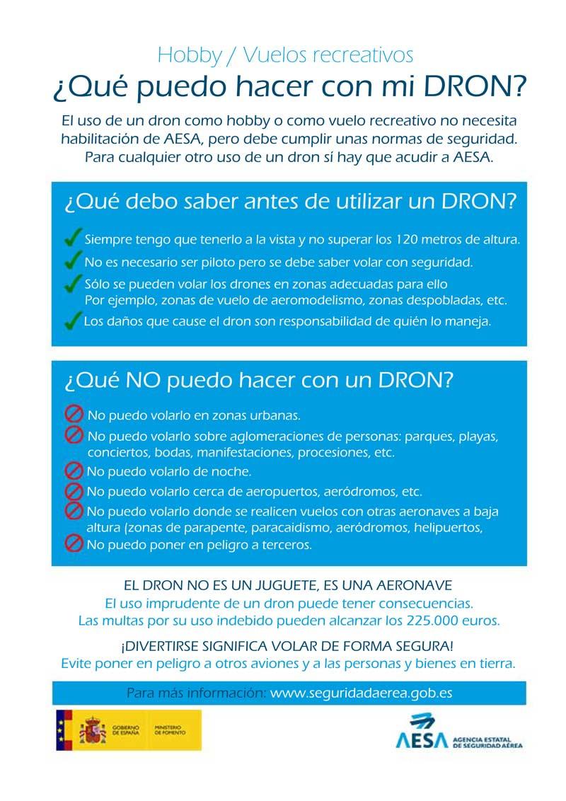 Recomendaciones uso de Drones en España